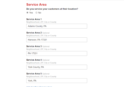 Adding a service area to Yelp