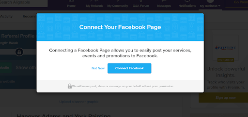 Connecting your business Facebook page