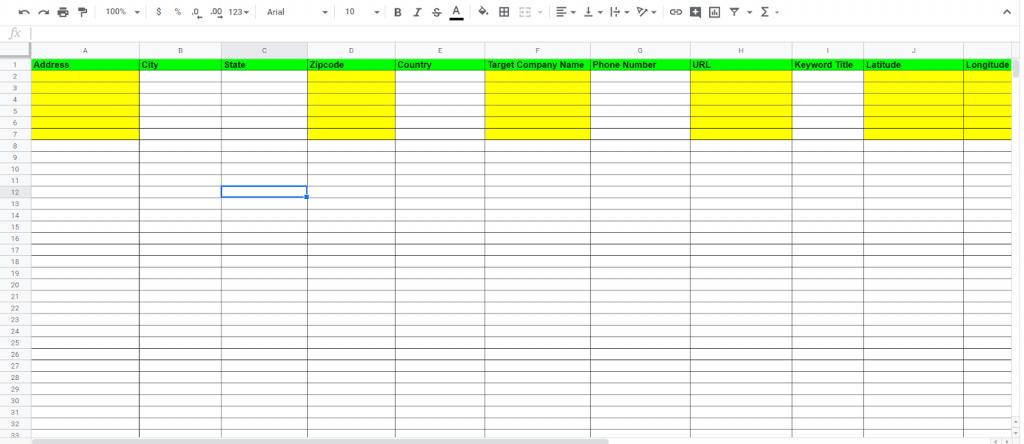 Next, fill out the Batch geo sheet
