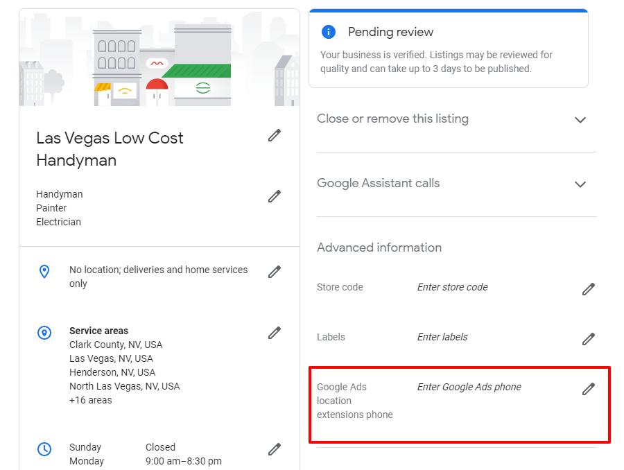 Extra GMB listing settings