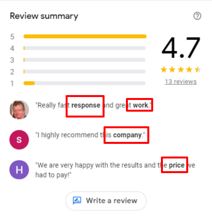 Make a note of the bolded text in review