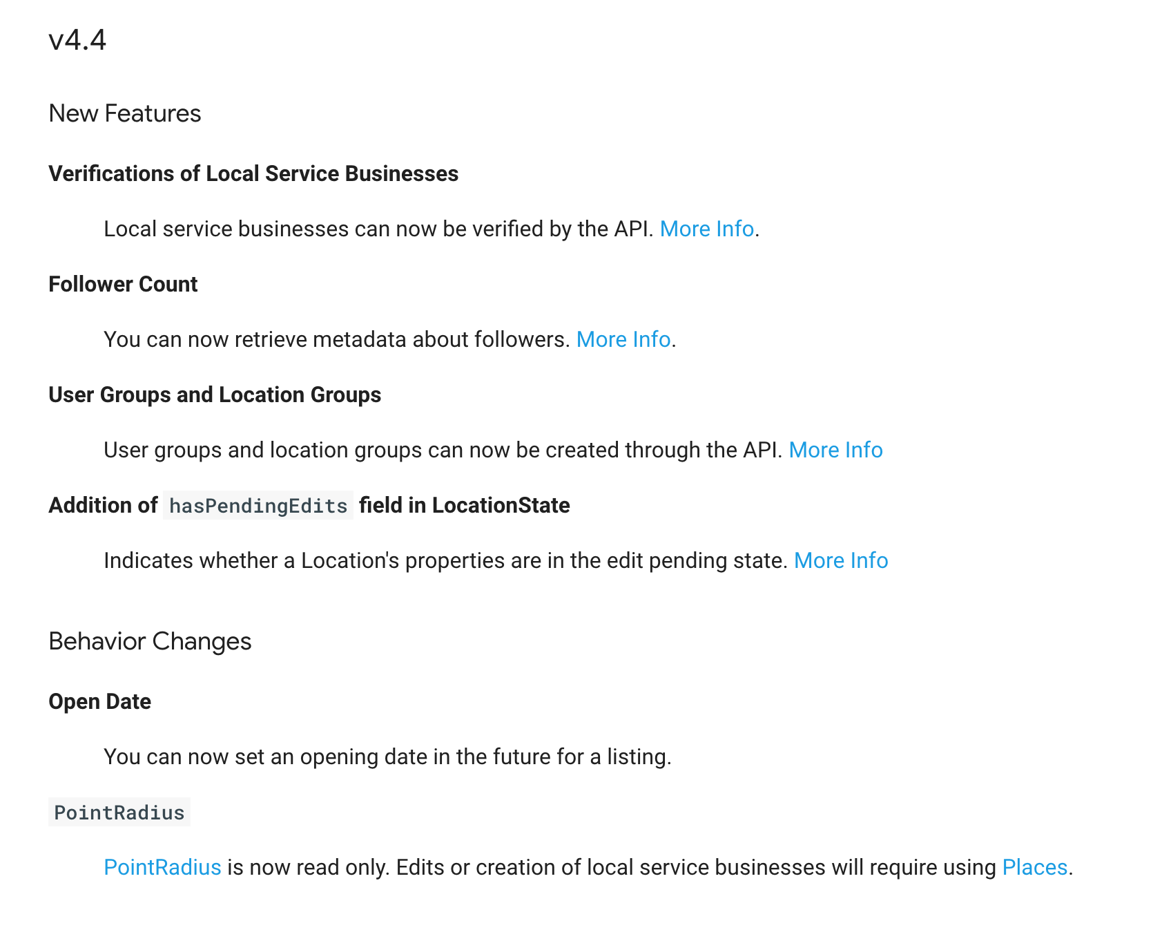 Google My Business API v4.4 Update