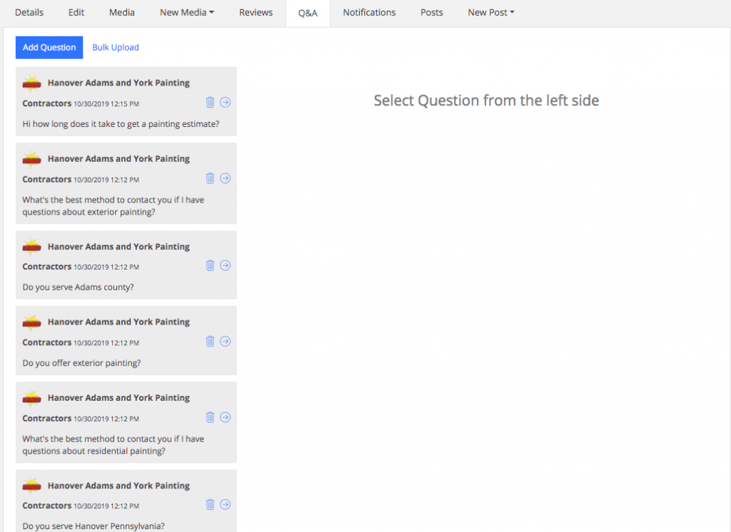 Optimizing questions and answers section