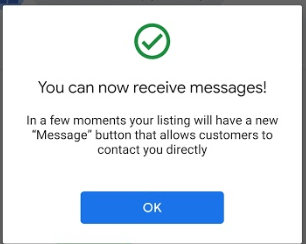 Turned on messaging for your GMB